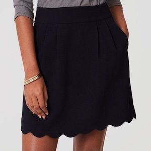 LOFT: scalloped indigo dress skirt